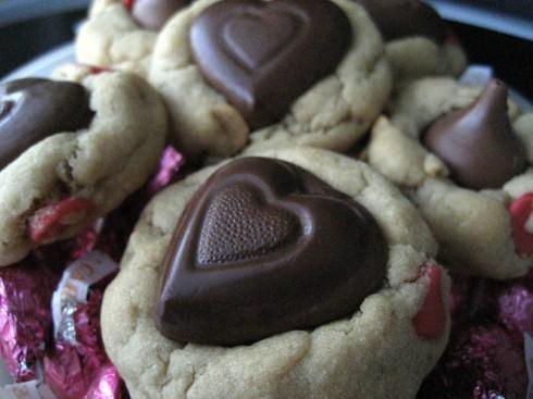 Peanut Butter Chocolate Chip Heart Cookies
