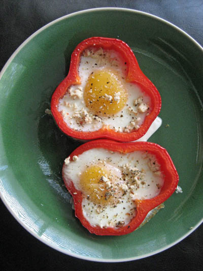 Adventures of a Hungry Redhead | Eggs baked in peppers