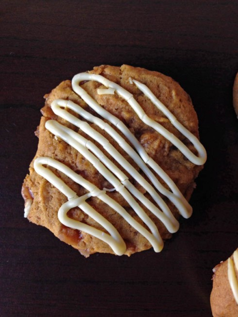 Pumpkin Toffee Cookies with White Chocolate Drizzle | Adventures of a Hungry Redhead